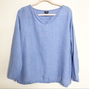 Eileen Fisher Irish Linen Popover Lagenlook Top